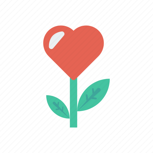 flower, heart, love, nature icon