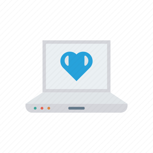 device, laptop, love, screen icon