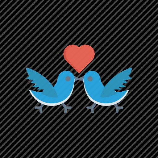 birds, fly, love, romance icon
