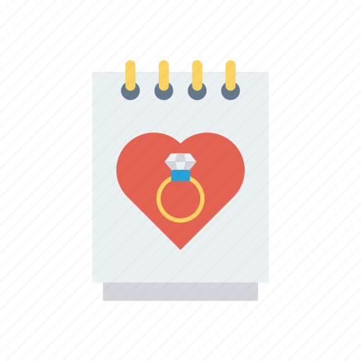engagement, heart, love, notepad icon