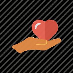 hand, heart, love, romance icon