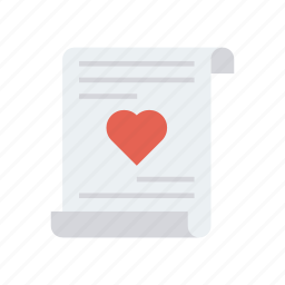 heart, letter, love, page icon