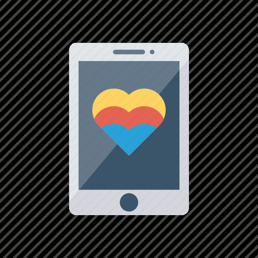 heart, love, mobile, phone icon