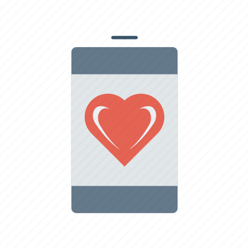 heart, love, mobile, phone icon