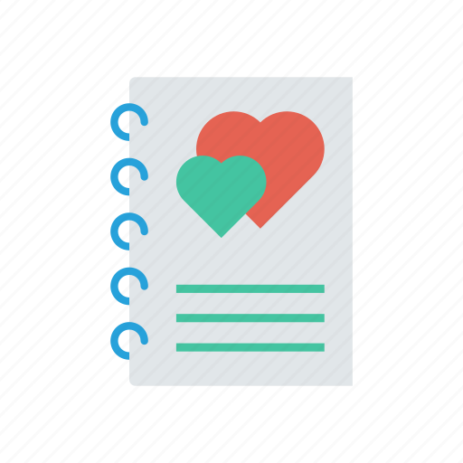 heart, love, notepad, romance icon