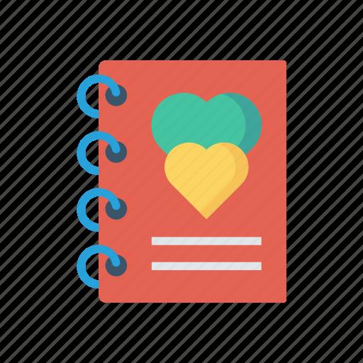 love, notebook, notepad, romance icon