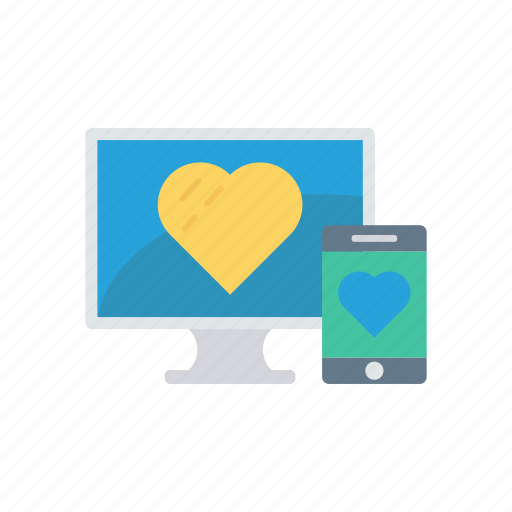 lcd, love, mobile, responsive icon
