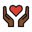 compassion, hands, heart, love, romance icon