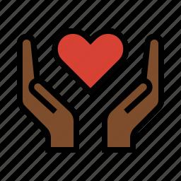 compassion, hands, heart, love, romance icon