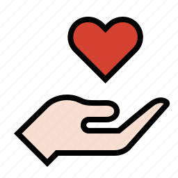 hand, heart, love, romance icon