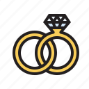 gold, love, rings, romance, wedding icon