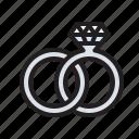 love, platinum, rings, romance, wedding icon
