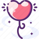 balloon, heart, lifting, love icon