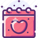 calendar, heart, love, valentine icon