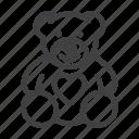 animal, gift, heart, love, teddy bear, toy icon