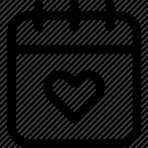 calendar, date, heart, love, reminder, romance, valentines icon