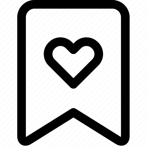 bookmark, favorite, heart, love, passion, romance, tag icon