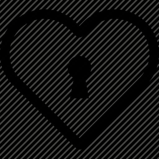heart, hole, key, lock, love, protection, romance icon