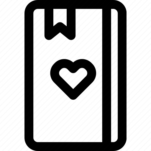 diary, heart, love, notebook, passion, romance, text icon