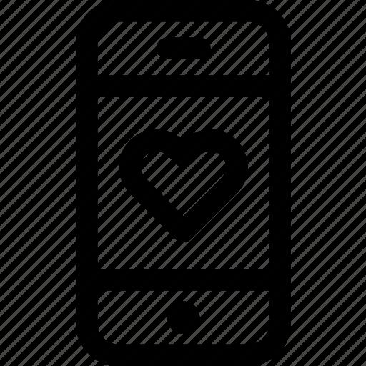 device, heart, love, message, phone, romance, screen icon