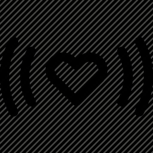 heart, love, romance, signal, vibe, vibrations, waves icon