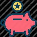loyalty, piggy bank, savings, bonus, star
