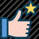 loyalty, like, thumb, feedback, hand, up, star
