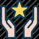 loyalty, give, hand, star, bonus, care