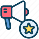 loyalty, megaphone, promotion, marketing, star, ranking