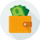 dollars, finance, money, pay, purse, wallet icon