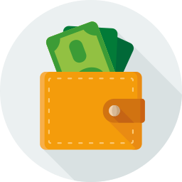 dollars, finance, money, pay, purse icon