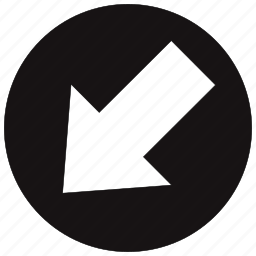 arrow, circle, direction, down, left, move icon