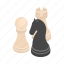 business, chess, figure, isometric, leisure, pawn, three icon
