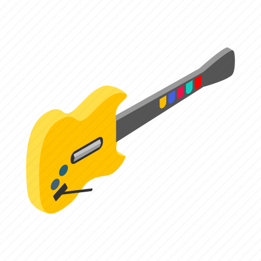 acoustic, electric, guitar, isometric, sign, style, toy icon