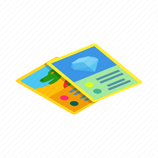 card, child, game, isometric, sign, toy, two icon