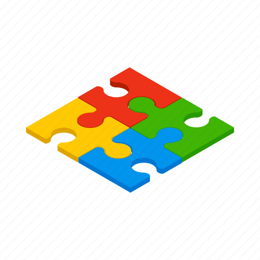 game, isometric, join, part, piece, puzzle, toy icon