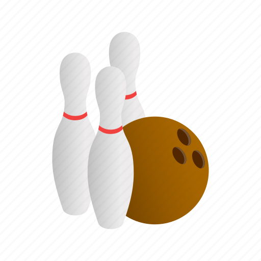 ball, bowling, game, isometric, pin, style, three icon