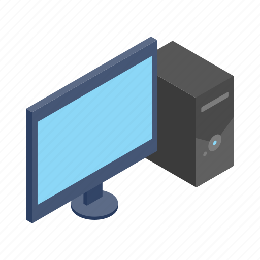 computer, desktop, isometric, monitor, pc, sign, style icon