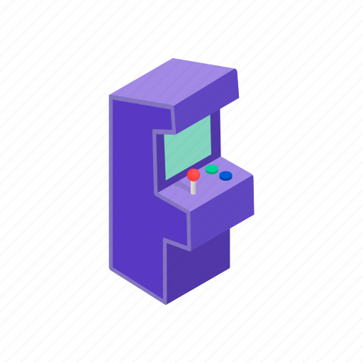 arcade, game, isometric, machine, sign, style, video icon
