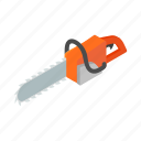 chainsaw, equipment, gasoline, isometric, motor, saw, tool icon