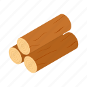 isometric, log, lumberjack, tree, trunk, wood, wooden icon