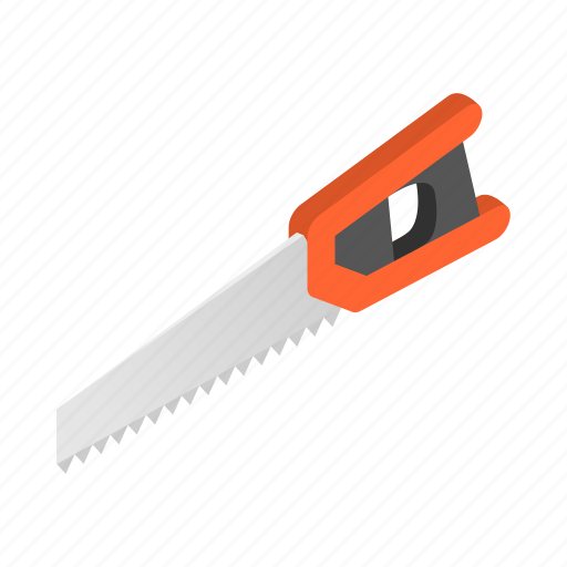 design, instrument, isometric, metal, saw, tool, woodworking icon