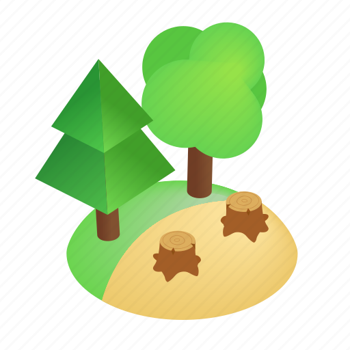 deforestation, environment, forest, isometric, natural, nature, stump icon