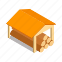 agriculture, building, firewood, isometric, log, shed, wood icon