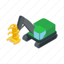 cargo, crane, isometric, loader, log, logging, transport icon