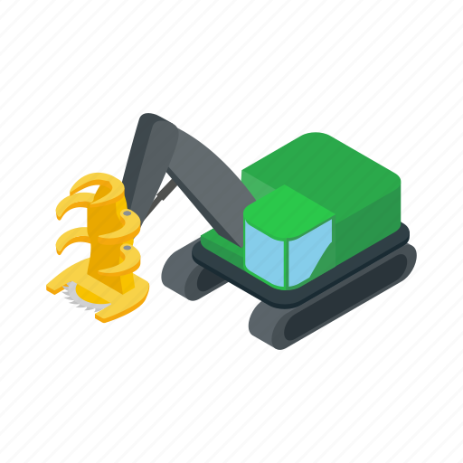 cargo, crane, isometric, loader, log, logging, transport icon