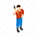 axe, forest, isometric, lumberjack, lumberman, wood, woodcutter icon
