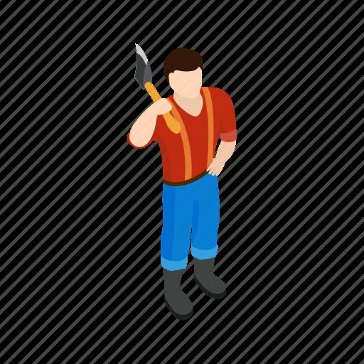 axe, forest, isometric, lumberjack, lumberman, wood, woodcutter icon