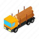 hauling, isometric, log, logging, transportation, truck, wood icon