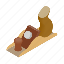 isometric, jack-plane, manual, plane, professional, tool, wood icon